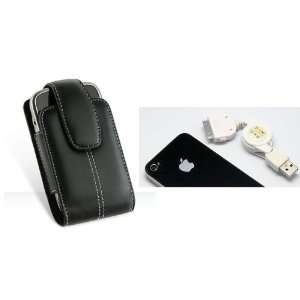 Apple iPhone 4 USB Data Cable & High Quality Black Leather