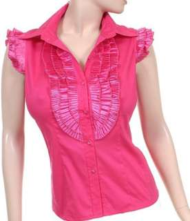 New Womens Cotton Shirt Blouse Top Fuchsia Pink S M L