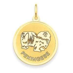 Genuine IceCarats Designer Jewelry Gift 14K Pekingese Disc