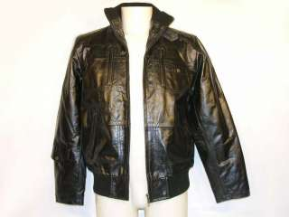 FG2014 men cow leather jacket,black.NWT