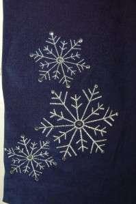 QUACKER FACTORY NAVY BLUE MOLESKIN PANTS W/ RHINESTONE SNOWFLAKES 1X