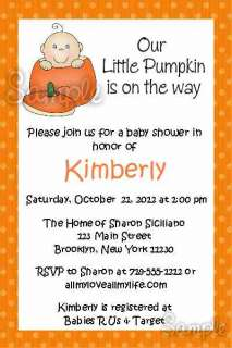 Personalized Pumpkin Baby Shower Birthday Invitations