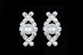 Bridal Wedding Prom Rhinestone Crystal Pearl Necklace Earrings set