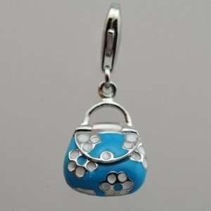 & Blue Enamel Lady Bag Charm/to Hook on Any Charm Bracelet Jewelry