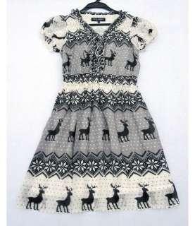 Ladys Flouncing Elk Printing Short sleeve Silk Dress