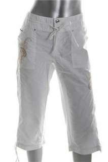 INC White Embellished Capri Pants Misses 8