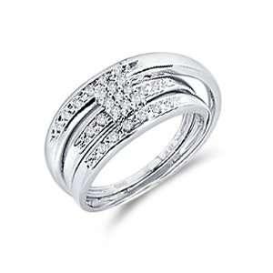 Diamond Engagement Rings Set Wedding Bands White Gold Men Ladies .07ct