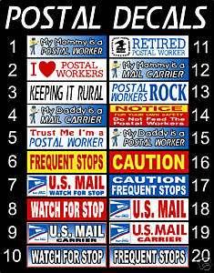 Postal Decal Bumper Sticker Post Office USPS OUTDOOR