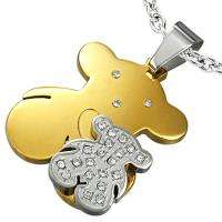Gold Silver Stainless Steel CZ Tous Style Bear Pendant b38