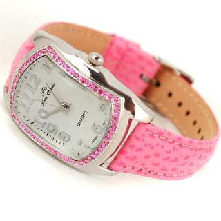 Band Crystal Square Case Lady Girl Quartz Wrist Watch Dress Free S & H