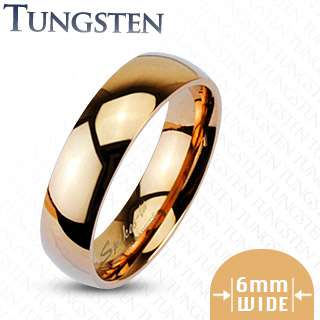 Carbide Rose Gold Plain 6mm Glossy Finished Band Ring Size 5 13