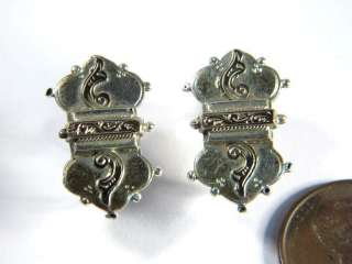 ANTIQUE VICTORIAN ENGLISH SILVER GOLD PIN & EARRINGS