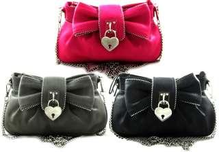 Lock Accent Chain Strap Small Messenger Crossbody Bag Purse Black Pink