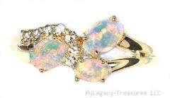 solid opal diamonds 14K gold ring pink green blue red Australian rare