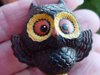 HALLMARK Lapel PIN Black HOOT OWL big eyes Halloween novelty brooch