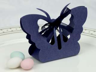 100 Royal Blue Wedding Bomboniere / Favour Boxes   Butterfly