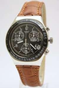 Irony Chrono Dark Phoenix Brown Leather Band Watch Date 40mm YCS429