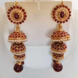 INDIAN GOLD FINISH DESIGNER POLKI FASHION JEWELRY PEARL RUBY DANGLE
