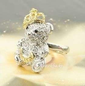Hot Fashion Amazing Crystal Crown Bear Adjustable Rings