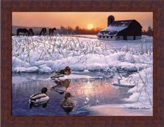 Winter Morning Mallard Ducks Farm Snow Scene Art Framed