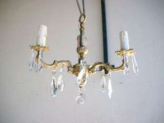 Great antique French bronze & glass chandelier # 06557