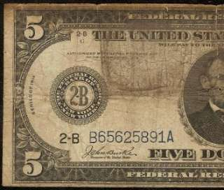 LARGE 1914 $5 DOLLAR BILL FEDERAL RESERVE NOTE Fr 848 OLD PAPER MONEY