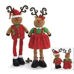 Girl Plush Christmas Reindeer Dolls Expandable Legs Adorable Holiday