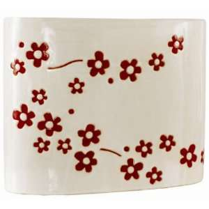 Sitcom Accessories Keiko White w/ Red Flowers Vase: Home