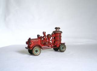 Cast Iron Fire Engine Pumper Truck 1920 Nickel Wheels 6 1/2 inches Toy