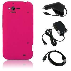 HTC Rhyme 6330   Hot Pink Soft Silicone Skin Case Cover + Car Charger