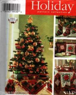 Sewing Pattern Christmas Tree Skirt, Pillow, Stocking
