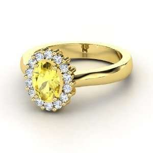 Princess Kate Ring, Oval Yellow Sapphire 14K Yellow Gold Ring