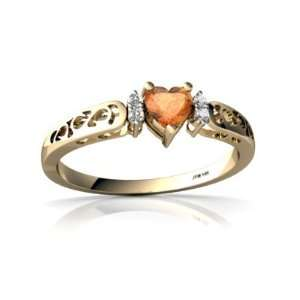 14K Yellow Gold Heart Fire Opal Filligree Ring Size 8