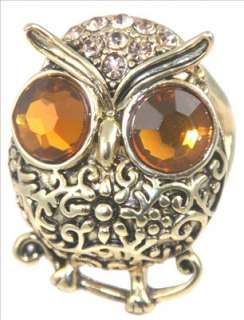 Owl Flower Brown Crystal Eyebrow Gold Ring Size 6.5