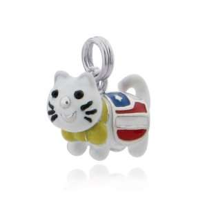 Sterling Silver Patriotic Kitty Cat Charm Jewelry