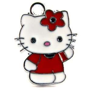 Kitty Charm Enamel Pendant/Red flower and shirt Arts, Crafts & Sewing