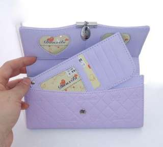 NEW Womens Lilac Leather Clutch Wallet Purse Checkbook
