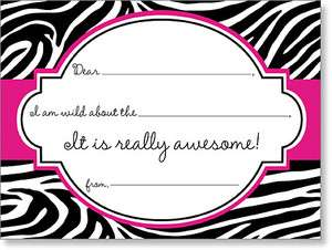 print fill in thank you notes pink and black zebra print thank you