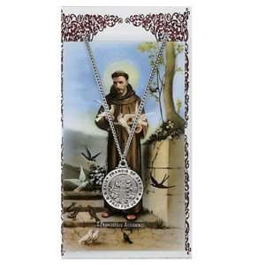 Pewter St. Francis Medal & 24 Chain, Prayer Card Set. Jewelry