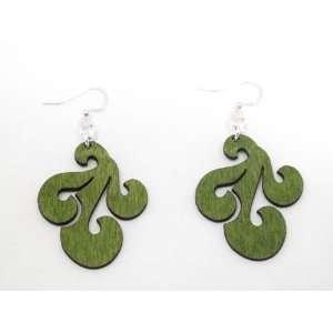 Apple Green Tri Wave Design Wooden Earrings GTJ Jewelry