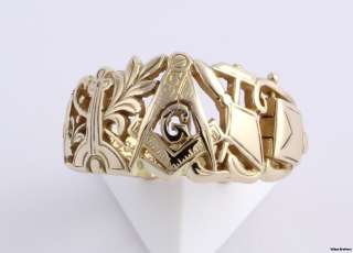 Masonic Master Mason Symbol Ring   14k Yellow Gold Art Carved   Opens