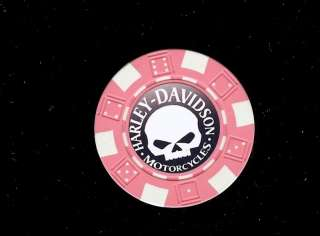New Pink Harley Davidson Skull Poker Chip Card Guard
