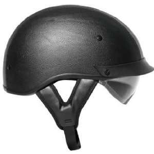 Outlaw T 72 Black Leather Dual Visor Motorcycle Half