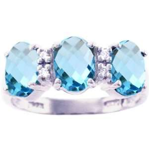 14K White Gold Oval Gemstone Trio Ring Swiss Blue Topaz