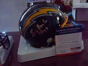 GARY JOHNSON SIGNED AUTOD CHARGERS MINI HELMET PSA/DNA