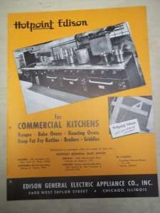 Vtg Edison General Electric Appliance GE Brochure~Hotpoint Kitchens