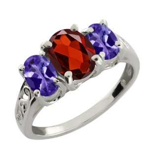 2.65 Ct Oval Blue Tanzanite and Red Garnet 10k White Gold