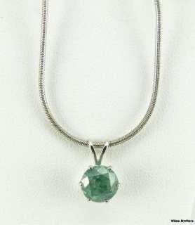 04ct Blue Green Diamond Solitare Pendant   14k White Gold GIA