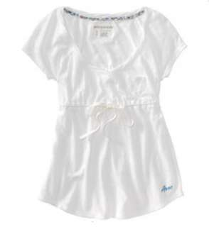 Aeropostale womens short sleeve Aero tied waist shirt   Style # 5317