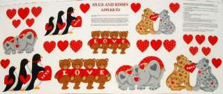 Kisses heart bear elephant penguin Valentine applique